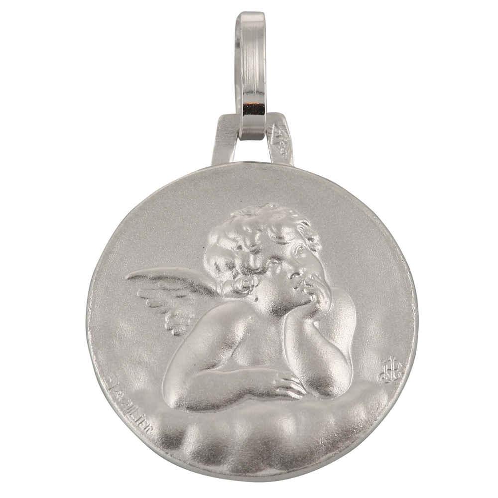 Photo de Médaille Ange Raphaël ronde - Or blanc 18ct