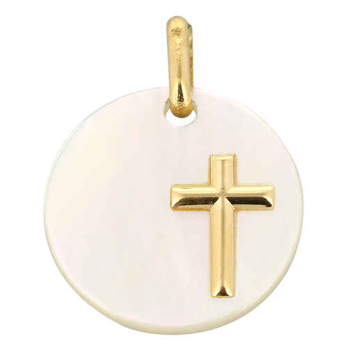 Photo de Médaille Croix ronde - Or jaune 18ct & nacre
