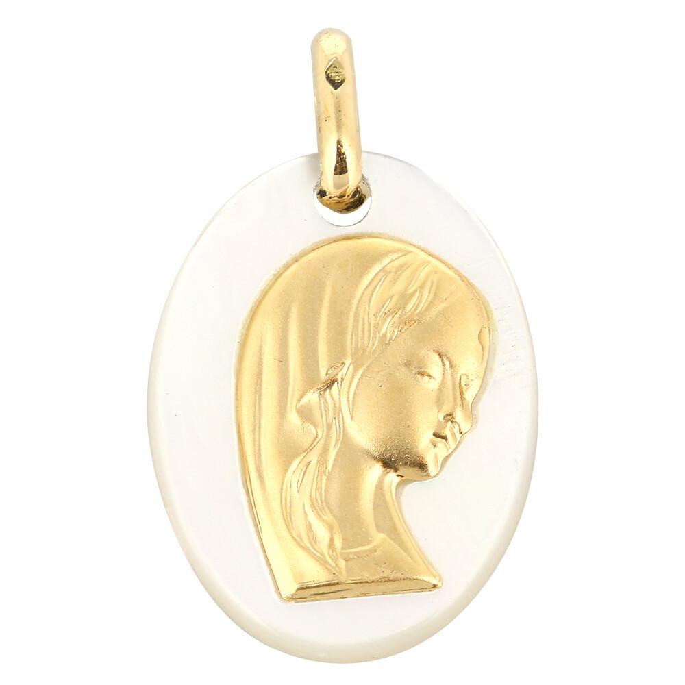 Photo de Médaille Vierge voilée ovale - Or jaune 18ct & nacre