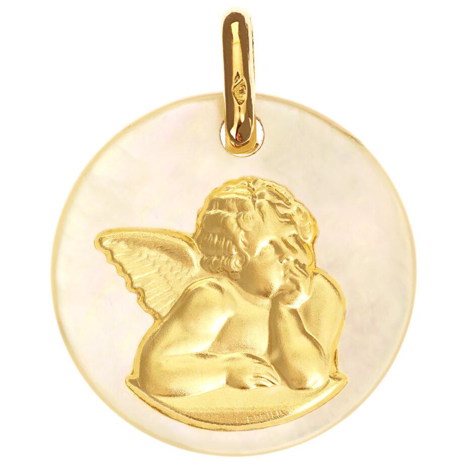 Photo de Médaille Ange Raphael - Or jaune 18ct & nacre