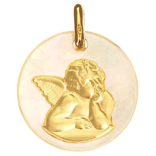 Photo de Médaille Ange Raphael - Or jaune 18ct & nacre