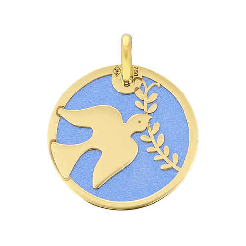 Photo de Médaille Colombe bleue - Or jaune 18ct