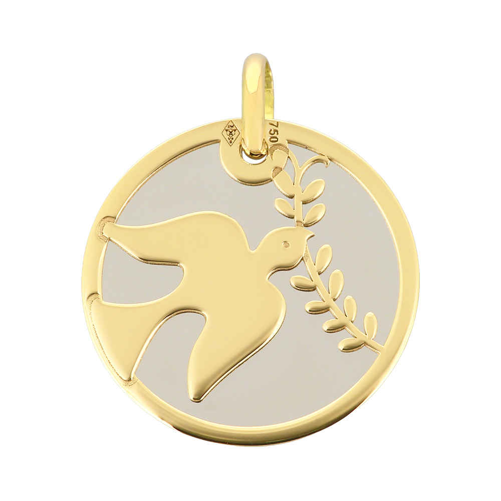 Photo de Médaille Colombe grise - Or jaune 18ct