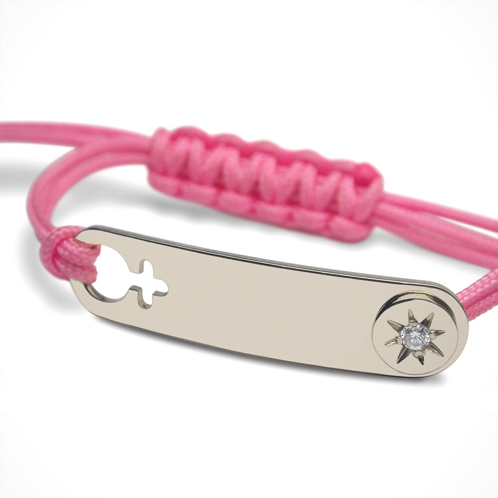 "Photo de Bracelet ""I am a girl"" star - Diamant- Argent massif"