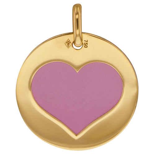 Photo de Médaille coeur rose - Or jaune 18ct & acier