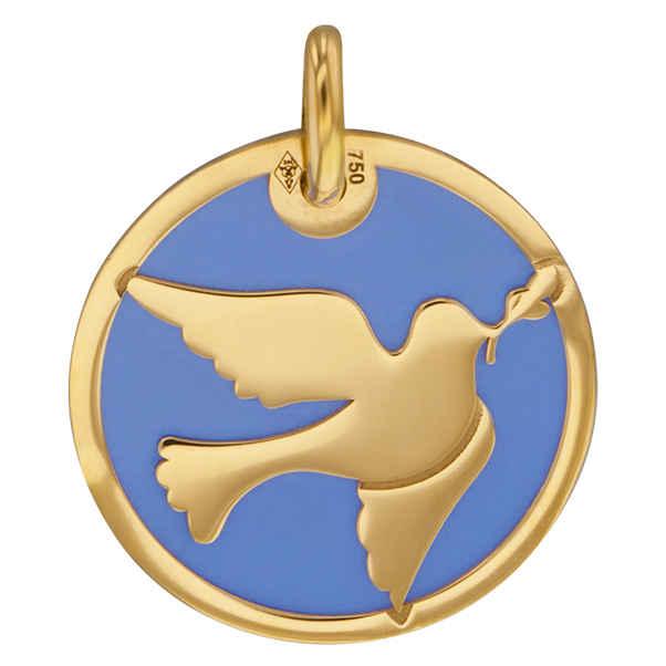 Photo de Médaille colombe bleue - Or jaune 18ct & acier