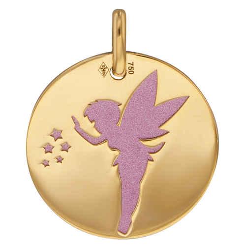 Photo de Médaille fée rose - Or jaune 18ct & acier