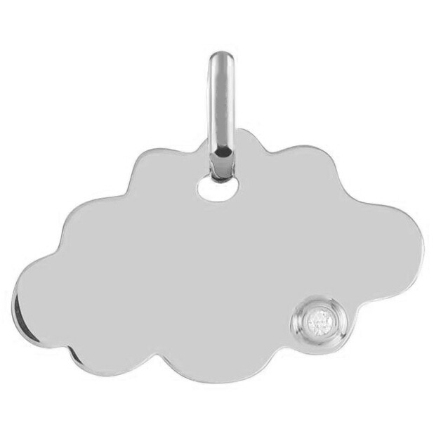Photo de Médaille Nuage - diamant & or blanc 18ct