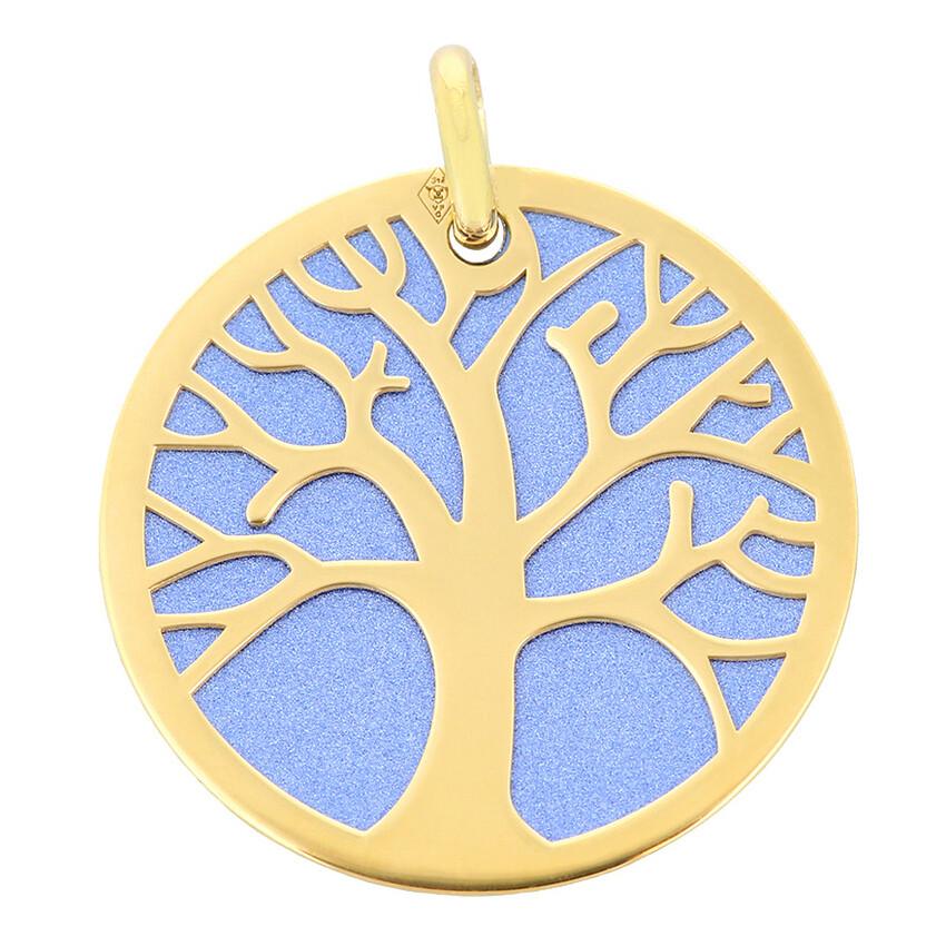 Photo de Médaille Arbre de vie bleu - Or jaune 9ct & acier