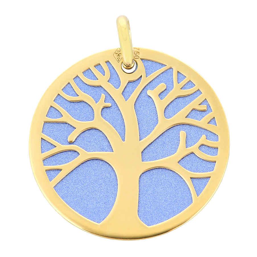Photo de Médaille Arbre de vie bleu - Or jaune 18ct & acier