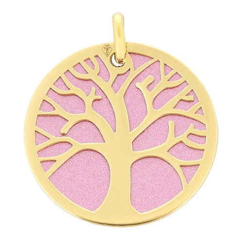 Photo de Médaille Arbre de vie rose - Or jaune 18ct & acier