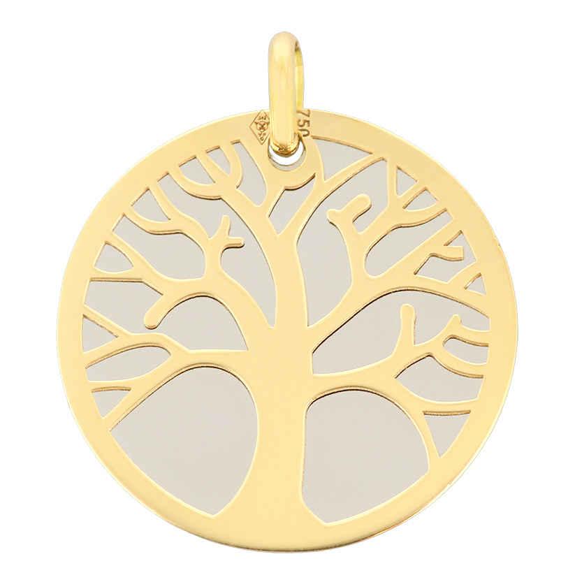 Photo de Médaille Arbre de vie grise - Or jaune 18ct & acier