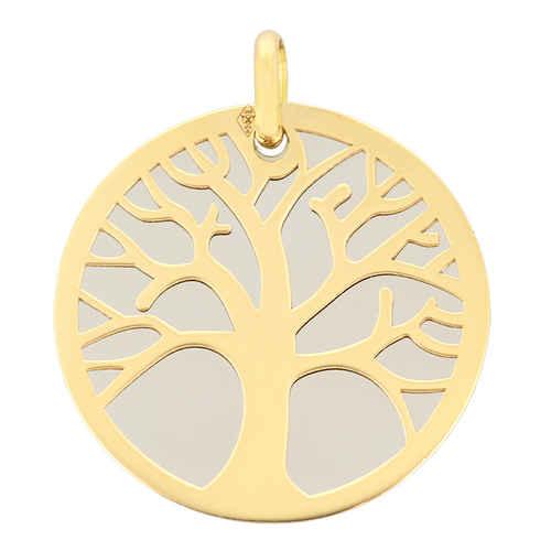 Photo de Médaille Arbre de vie grise - Or jaune 9ct & acier