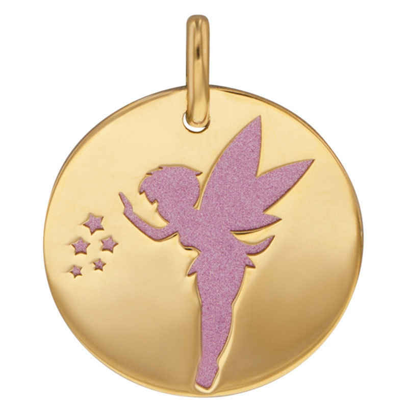 Photo de Médaille fée rose - Or jaune 9ct & acier