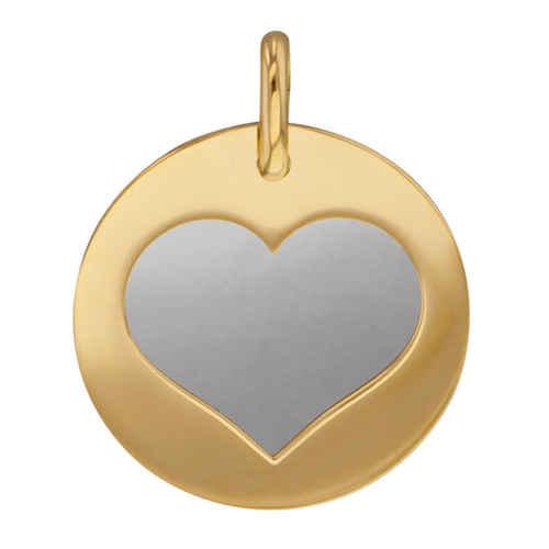 Photo de Médaille coeur gris - Or jaune 9ct & acier