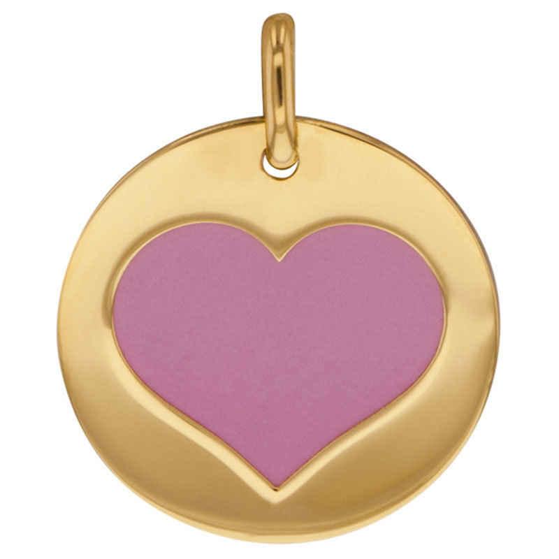 Photo de Médaille coeur rose - Or jaune 9ct & acier