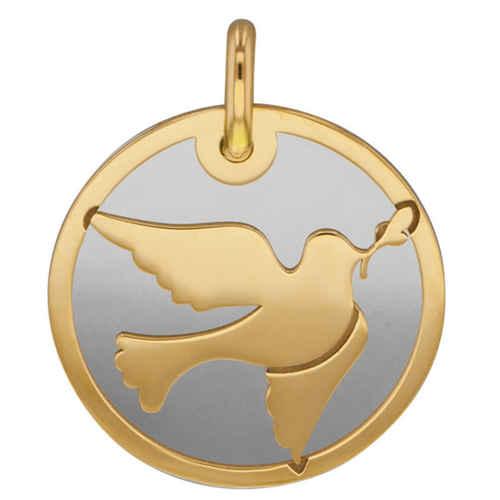 Photo de Médaille colombe grise - Or jaune 9ct & acier