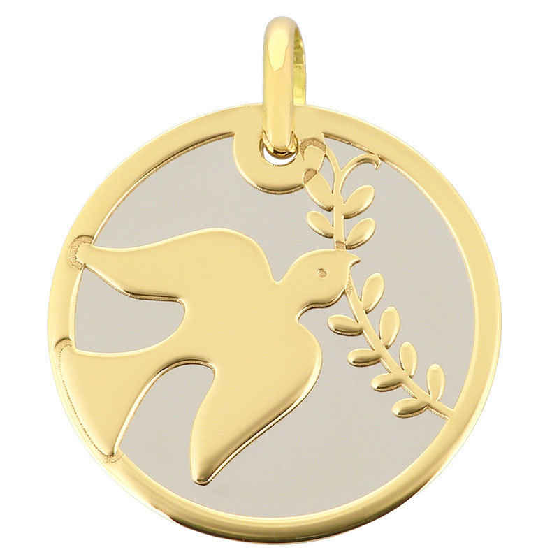 Photo de Médaille Colombe grise - Or jaune 9ct & acier