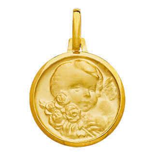 Photo de Médaille Enfant au bouquet - Or jaune 18ct