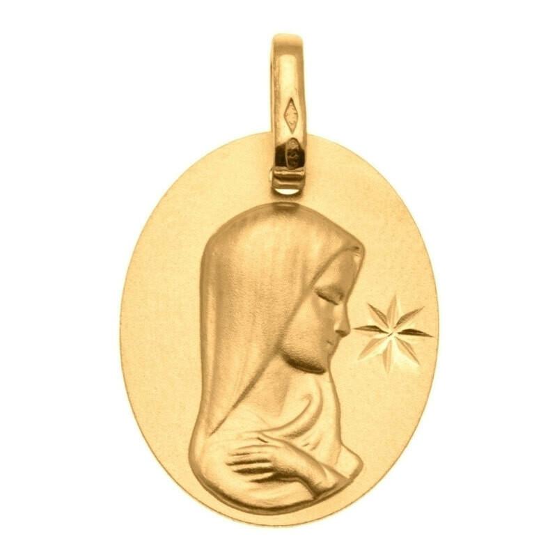 Photo de Médaille Vierge à l'étoile - Or jaune 9ct