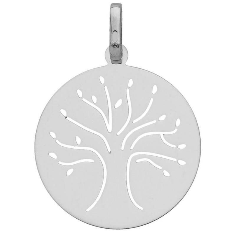 Photo de Médaille Arbre de vie élancé ajourée - Or blanc 9ct