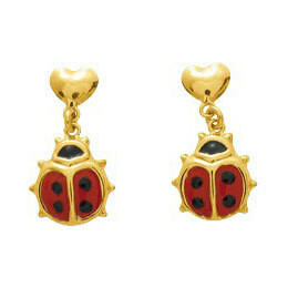 Photo de Boucles d'oreilles coccinelles - Vis - Or jaune 18ct