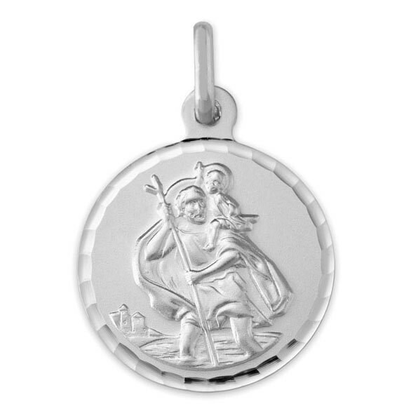Photo de Médaille Saint-Christophe - Or blanc 9ct