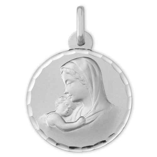 Photo de Médaille Vierge à l'enfant douceur ciselée - Or blanc 9ct
