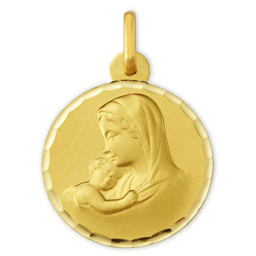 Photo de Médaille Vierge à l'enfant douceur ciselée - Or jaune 9ct