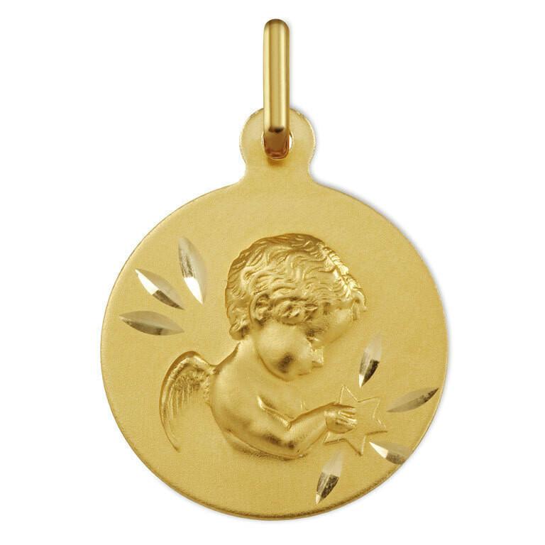Photo de Médaille Ange à l'étoile ciselée - Or jaune 18ct