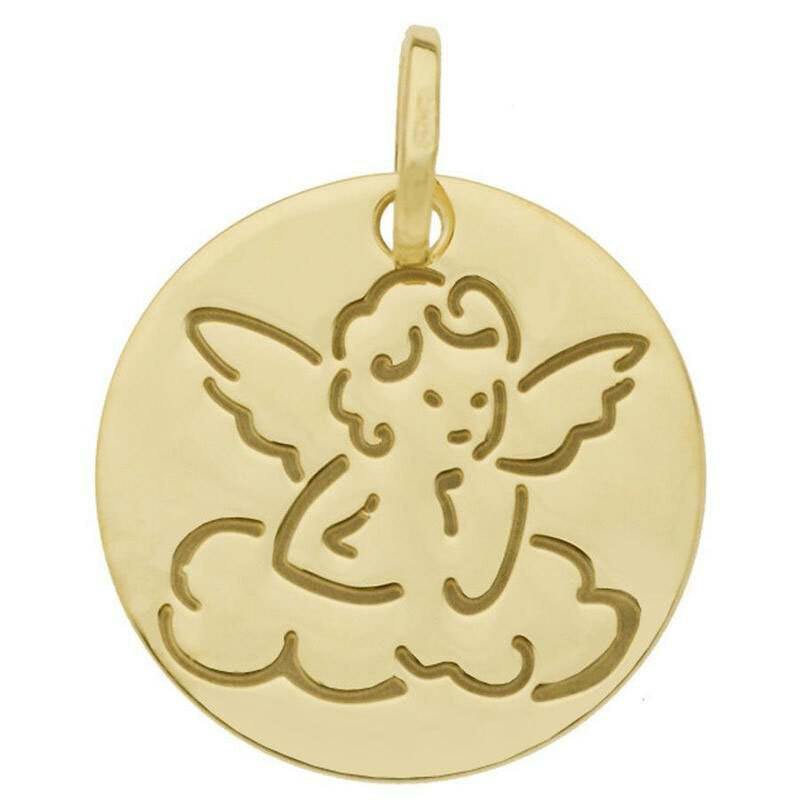 Photo de Médaille Ange et nuage - Or jaune 18ct