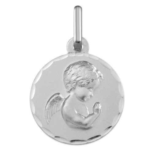 Photo de Médaille Ange en prière ciselée - Or blanc 9ct