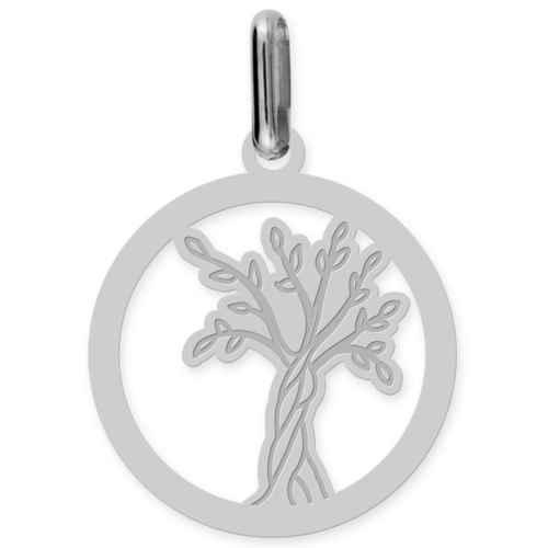 Photo de Médaille Arbre de vie naissant ajourée - Or blanc 18ct
