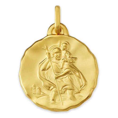 Photo de Médaille Saint- Christophe ronde - Or jaune 9ct