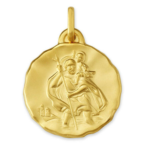 Photo de Médaille Saint- Christophe ronde - Or jaune 9ct