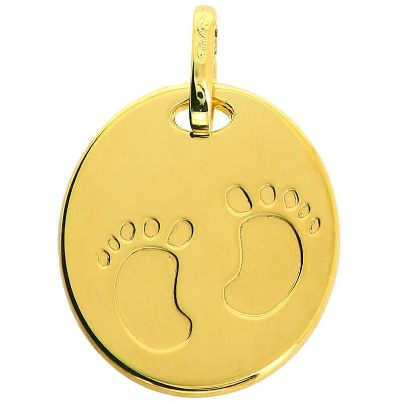 Photo de Médaille empreintes pieds - Or jaune 9ct