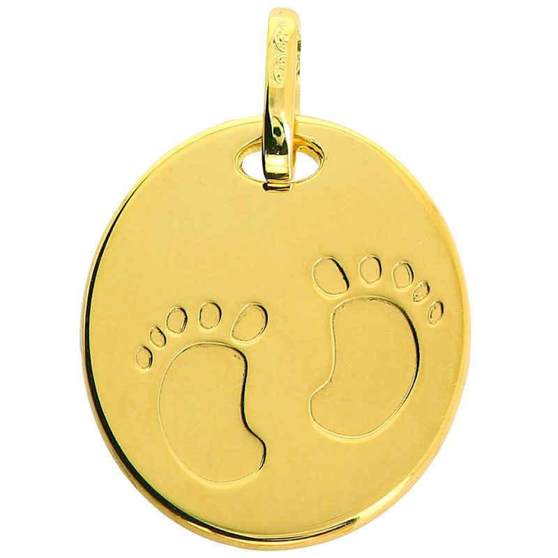 Photo de Médaille empreintes pieds - Or jaune 18ct