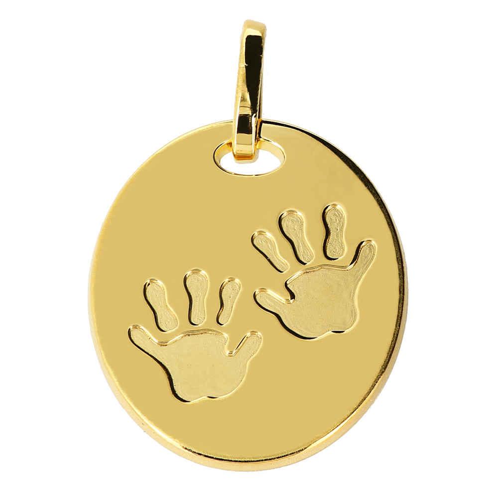 Photo de Médaille empreintes mains - Or jaune 18ct