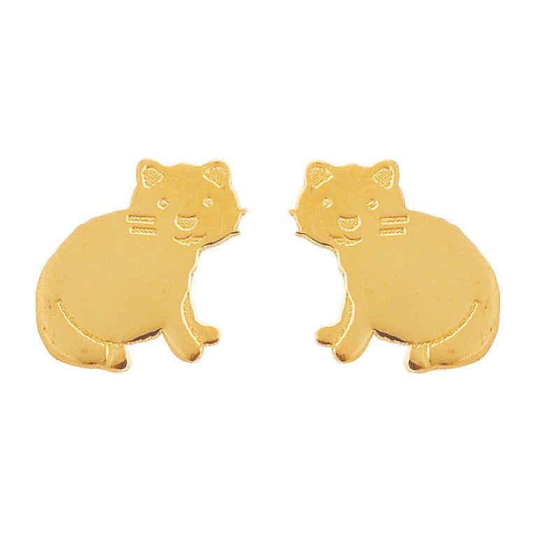 Photo de Boucles d'oreilles chats - Vis - Or jaune 9ct