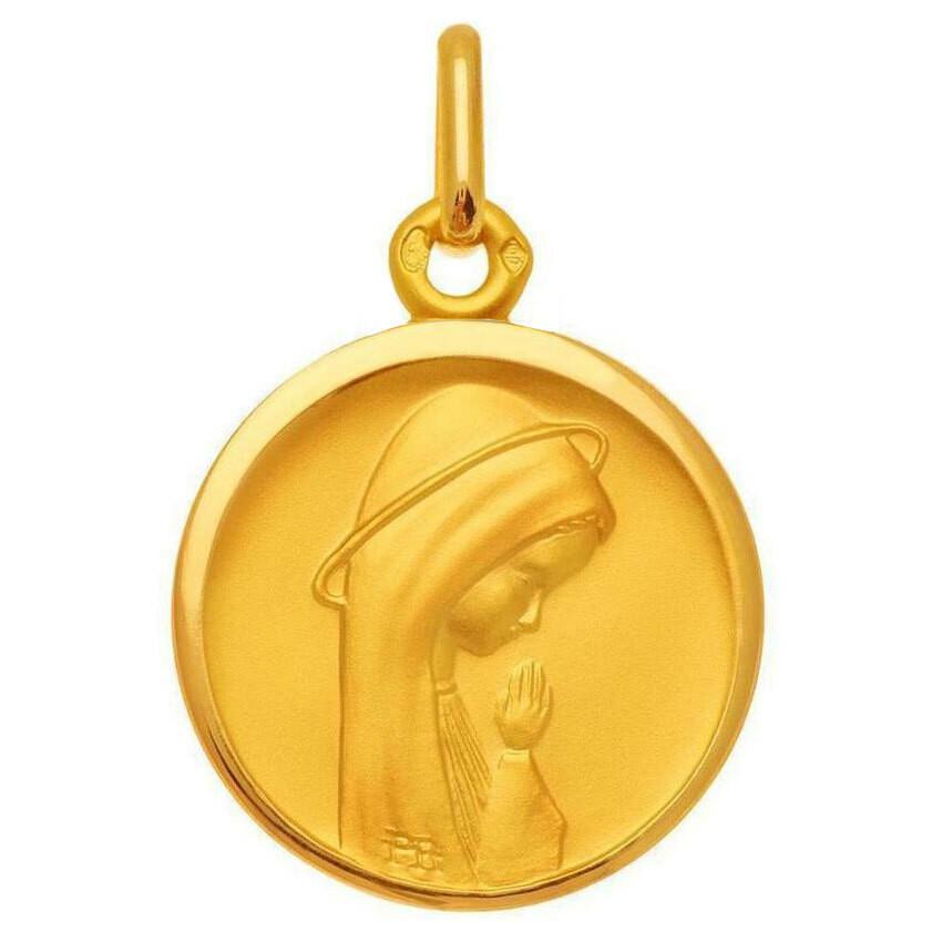 Photo de Médaille Vierge en prière auréolée - Or jaune 18ct