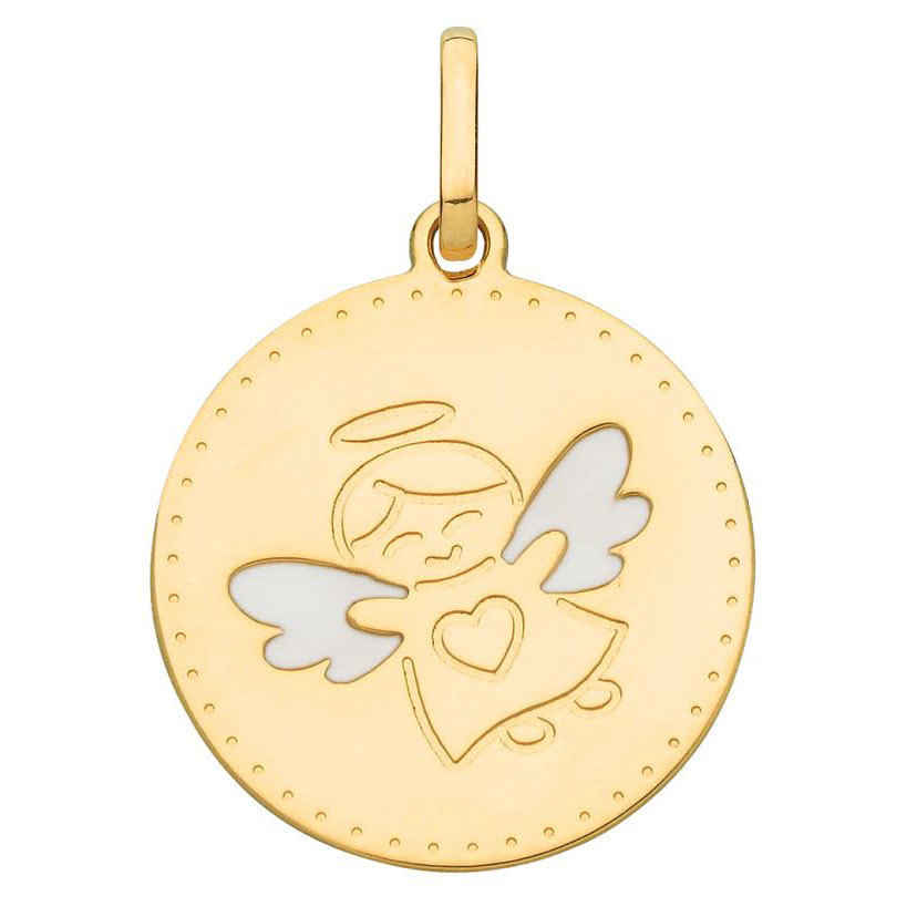 Photo de Médaille Ange aux ailes blanches - Or jaune 18ct