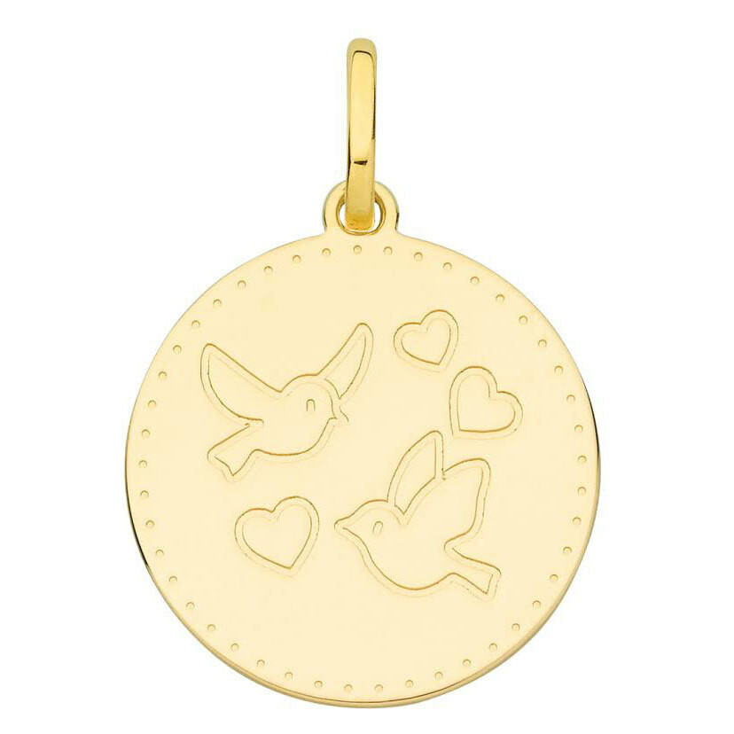 Photo de Médaille Colombes aux coeurs - Or jaune 18ct