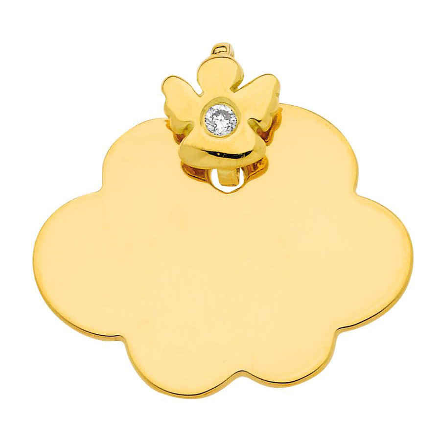 Photo de Médaille nuage Ange - diamant & or jaune 18ct