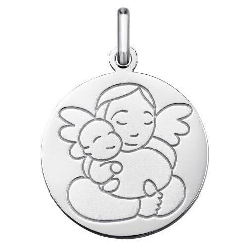 Photo de Médaille Ange à l'enfant - Or blanc 9ct