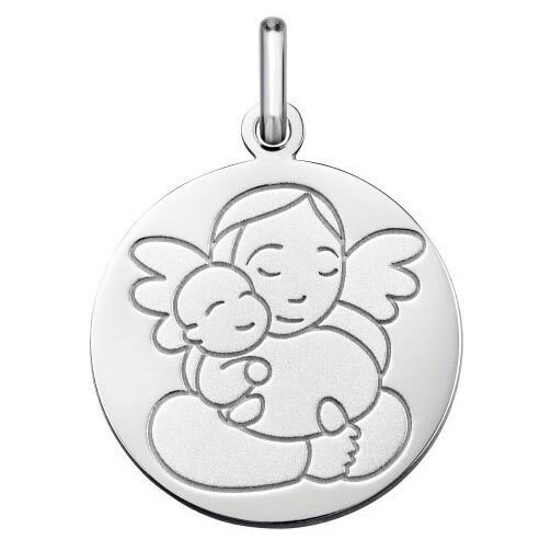 Photo de Médaille Ange à l'enfant - Or blanc 9ct