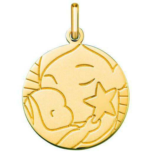Photo de Médaille Vierge à l'enfant étoile - Or jaune 9ct