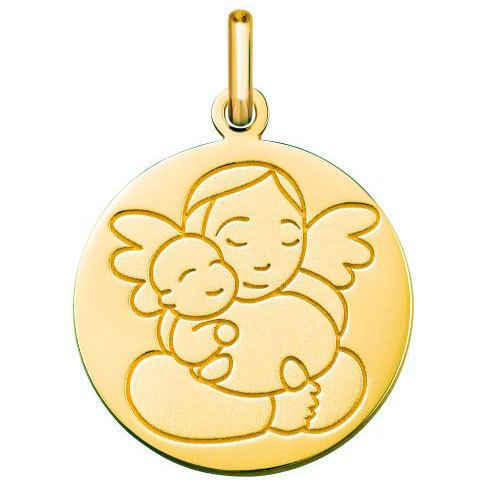 Photo de Médaille ange à l'enfant - Or jaune 9ct
