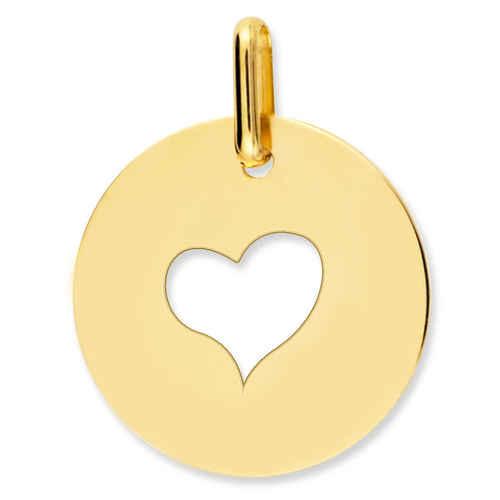 Photo de Médaille coeur ajourée - Or jaune 9ct