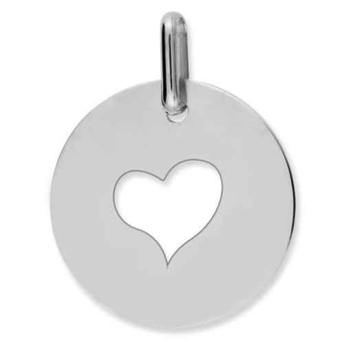 Photo de Médaille coeur ajourée - Or blanc 9ct