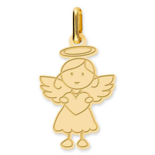 Photo de Pendentif Ange fille au coeur - Or jaune 18ct
